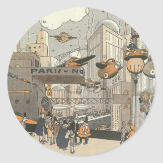 Vintage Science Fiction Urban Paris, Steam Punk Classic Round Sticker