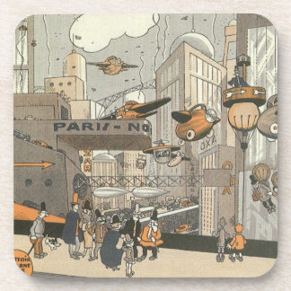 Vintage Science Fiction Urban Paris, Steam Punk Drink Coaster