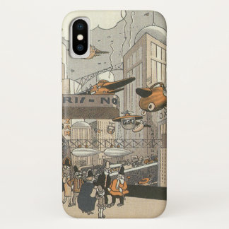 Vintage Science Fiction Urban Paris, Steam Punk iPhone X Case