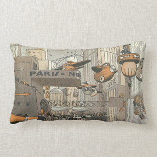 Vintage Science Fiction Urban Paris, Steam Punk Lumbar Pillow