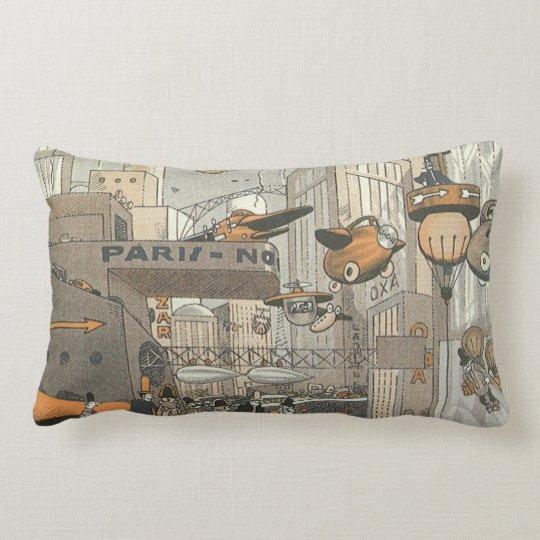 Vintage Science Fiction Urban Paris, Steam Punk Lumbar Pillow