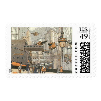 Vintage Science Fiction Urban Paris, Steam Punk Stamp