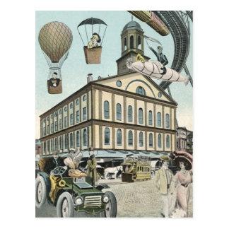 Vintage Science Fiction, Victorian Steam Punk City Postcard