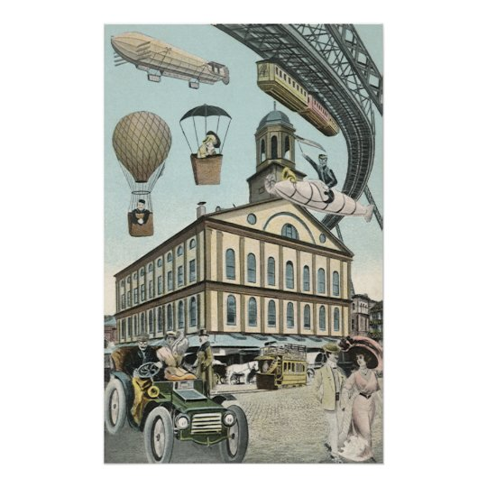 Vintage Science Fiction, Victorian Steam Punk City Poster
