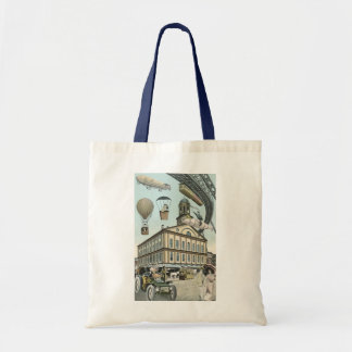 Vintage Science Fiction, Victorian Steam Punk City Tote Bag
