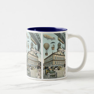 Vintage Science Fiction, Victorian Steam Punk City Two-Tone Coffee Mug