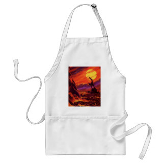 Vintage Science Fiction Volcano Planet w Red Lava Adult Apron