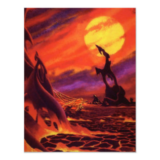 Vintage Science Fiction Volcano Planet w Red Lava Card