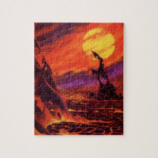 Vintage Science Fiction Volcano Planet w Red Lava Jigsaw Puzzle