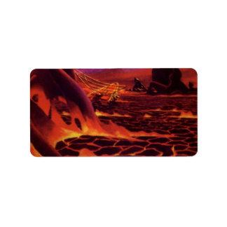 Vintage Science Fiction Volcano Planet w Red Lava Label