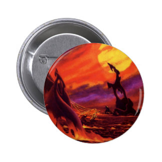 Vintage Science Fiction Volcano Planet w Red Lava Pinback Button