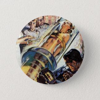 Vintage Science Fiction, Woman Lab Experiment Pinback Button