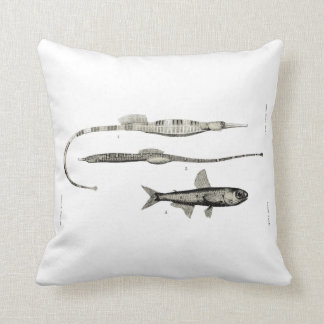 Vintage Science NZ Fish - Pipe and Lantern Fish Throw Pillow