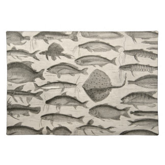 Vintage Scientific Fish Swimming Amazon River Fins Place Mats