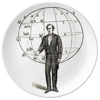 Vintage Scientific Illustration of a Man Gesturing Porcelain Plate