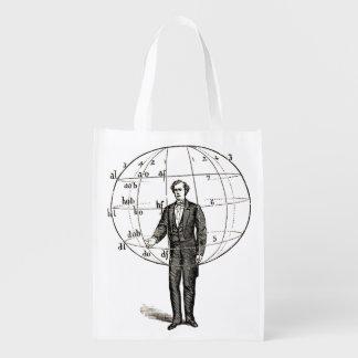 Vintage Scientific Illustration of a Man Gesturing Reusable Grocery Bag