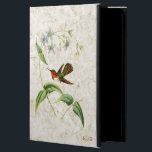 "Vintage Scintillant Hummingbird Monogrammed Case For iPad Air<br><div class=""desc"">Monogrammed iPad folio case with a vintage illustration of the Scintillant Hummingbird. A green and brown hummingbird with a red throat flies near a tropical plant with light blue flowers,  on a light gold marble texture background.</div>"