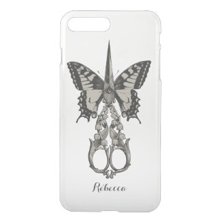 Vintage Scissor & Butterfly with Name iPhone 7 Plus Case