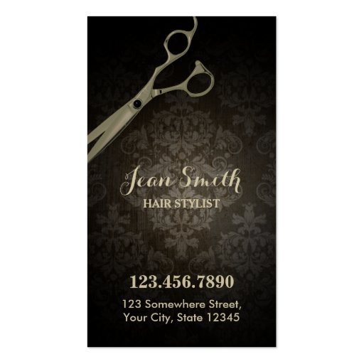 Vintage Scissor Damask Hair Stylist Business Card Template