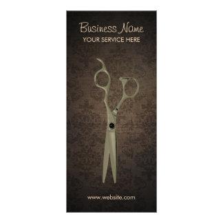 Vintage Scissor Dark Damask Background Hair Salon Rack Card