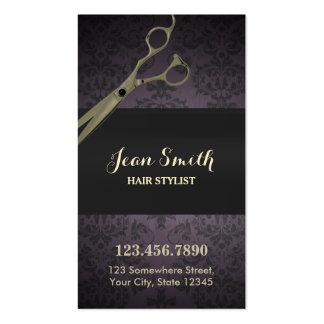 Vintage Scissor Purple Damask Hair Stylist Business Card