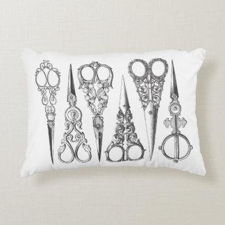 Vintage Scissors Elegant Black White Decorative Accent Pillow