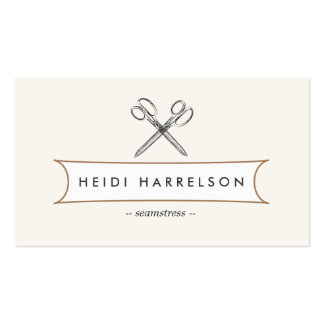 VINTAGE SCISSORS LOGO for Seamstress, Crafters Double-Sided Standard Business Cards (Pack Of 100)