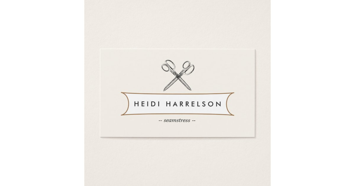 VINTAGE SCISSORS LOGO for Seamstress, Crafters Business Card ...