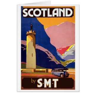 """Vintage Scotland Bus Company Travel Poster"" Greeting Card"