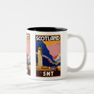 """Vintage Scotland Bus Company Travel Poster"" Two-Tone Coffee Mug"