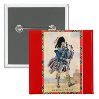 Vintage Scotland, Follow the Bagpipes 2 Inch Square Button