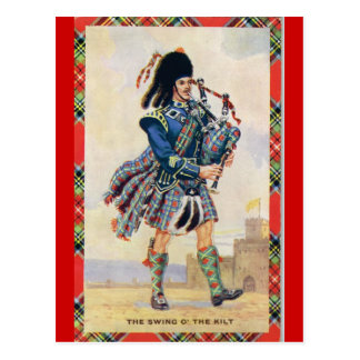 Vintage Scotland, Follow the Bagpipes Postcard