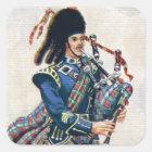 Vintage Scotland, Follow the Bagpipes Square Sticker