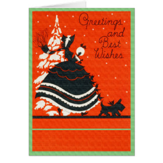 Vintage Scottie Dog and Lady Greeting Card