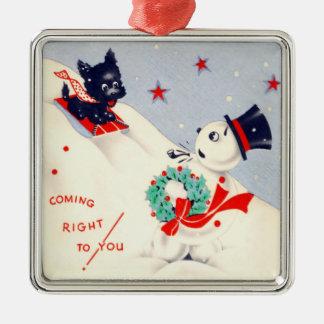 Vintage Scottie Dog and Snowman Square Metal Christmas Ornament