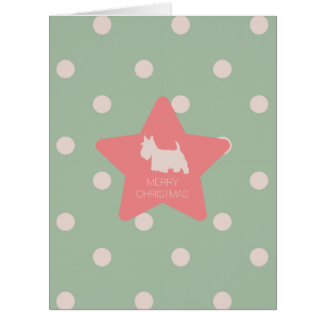 Vintage scottie on green and white dots card