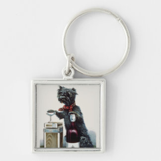 Vintage Scottie with Champagne Silver-Colored Square Keychain