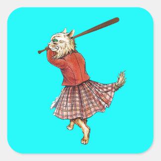 vintage scottish baseball playing cat square sticker