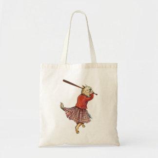 vintage scottish baseball playing cat tote bag
