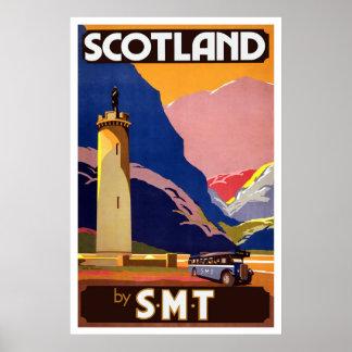 Vintage Scottish Bus Travel Poster