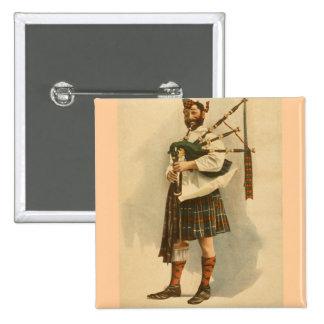 Vintage Scottish Highland BagPipe Player Kilt Man 2 Inch Square Button