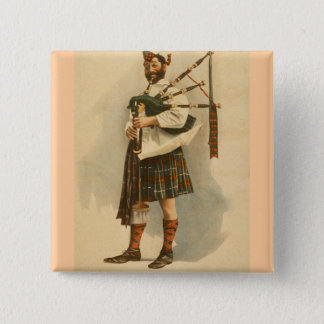 Vintage Scottish Highland BagPipe Player Kilt Man Pinback Button