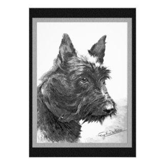 Vintage Scottish Terrier art Custom Announcements