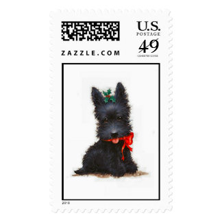 Vintage Scottish Terrier Christmas Holiday Postage
