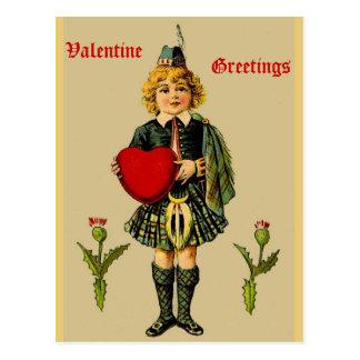 Vintage Scottish Valentine Postcard: Boy in Kilt Postcard