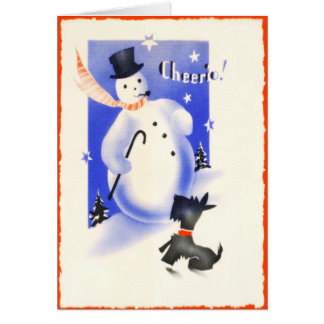 Vintage Scotty Dog With Snowman Cheerio Christmas Card