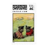 Vintage Scotty Dogs in Tartan Plaid Stamp
