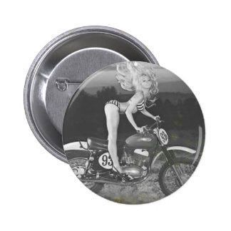 VINTAGE SCRAMBLER AND HOT MODEL. 2 INCH ROUND BUTTON