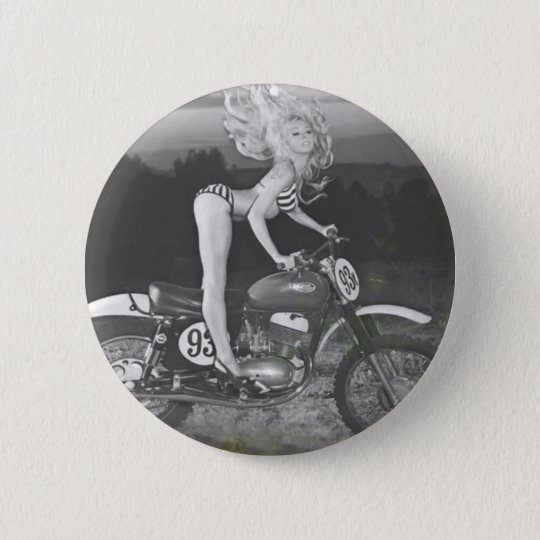 VINTAGE SCRAMBLER AND HOT MODEL. PINBACK BUTTON
