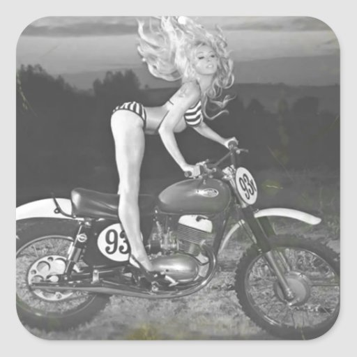 VINTAGE SCRAMBLER AND HOT MODEL. SQUARE STICKERS